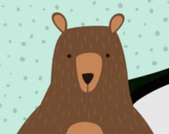 I Love You Bear-y Much! Camp Postcard