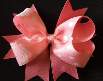 NEW!  Pretty in Pink Polka Dots Hair Bow