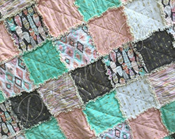 Rag Quilt - Arrow Flight - King Queen Full Twin xl Throw - Mint - Gray - Blush - Metallic - Modern Handmade Bedding