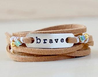 Brave Brown Leather Wrap Bracelet / Brave bracelet / Be Brave Bracelet / Brave Jewelry / Motivational Bracelet / Strong Bracelet