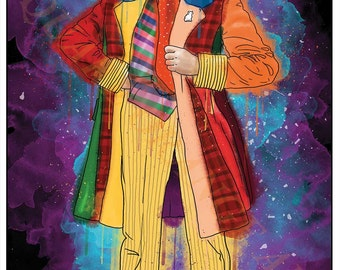 Sixth Doctor Colin Baker 6th Dr Who Inspired Splash Style A4 Original Art Print
