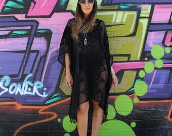 Gypsy Eyes LADY of the CANYON Black Burnout VELVET Witchy Boho Caftan