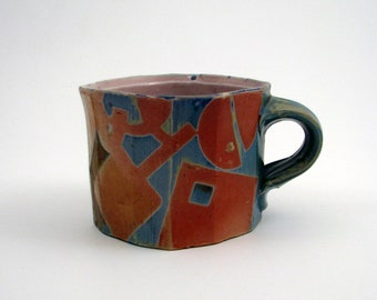 Square Soda Fired Porcelain Mug with Blue Codex Pattern