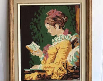 "Vintage ""Young Girl Reading"" Jean-Honore Fragonard Large Shabby Framed Needlepoint"