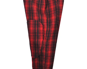 40 Waist / 31 Inseam Men's Red and Black Plaid Heavyweight Wool Pants with Metal Buttons for Suspenders