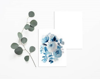 Blue watercolor floral card