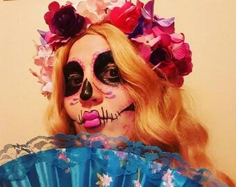 Sugar Skull Pink and Purple Flower Crown