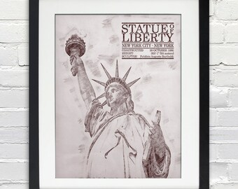 Statue of Liberty Sketch Print, Typography Poster, Print or Canvas, New York City Icon, 8x10, 11x14, 16x20, 20x30