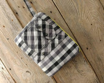 Cowgirl clutch upcycled black and white western shirt