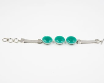 Snap Soft Chain Bracelet with three Turquoise Fused Glass Charms