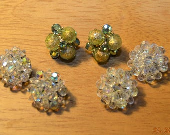 3 Pair Clip Earrings,2 signed,Vogue Green Gold Foiled Bead Cluster,Western Germany AB Crystal Rhinestone Statement Vintage 50's 60's