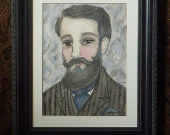 ORIGINAL PAINTING, Victorian Portrait, Framed Painting, Watercolor Illustration (8x10) Bearded Gentleman, Home Decor, Morris
