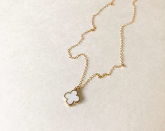 Quatrefoil necklace etsy white quatrefoil necklace aloadofball Choice Image