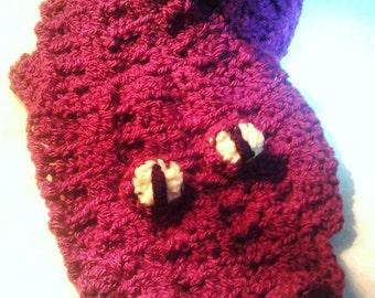 Crochet Plum scarf , Crocodile scarf ,  Plum Crocodile Scarf , Animal scarf , Novelty scarf , Christmas gift , Purple scarf , neck warmer