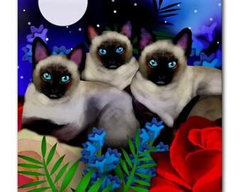 SIAMESE CATS Moon Garden Art Ceramic Tile Coaster optional frame