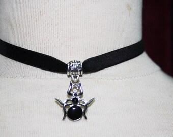 Spider Charm Pendant , black  Velvet Ribbon Choker Necklace