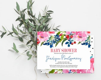 Boho Baby Shower Invitation, Greenery, Flower Baby Shower, Gender Neutral Invite, Berries, Watercolor Floral, Blue, Pink, Red, 821