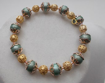 A Classic Look - Always in Style - Vintage Glass Beads -  A Must Have Memory Wire Bracelet