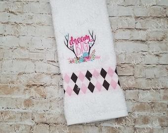 Hand towel, Bathroom towel, Dream big, western theme, deer antlers, Embroidered hand towel, Dish cloth