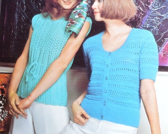 Women knitted summer top vintage knitting pattern short sleeved tops pdf INSTANT download pattern only pdf 1970s