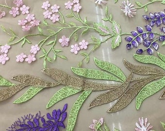 Embroidery Floral Lace Fabric ,Colorful Embroidery Mesh Lace Fabric ,2017 New Design Brand Lace Fabric ,DIY Lace Fabric Material