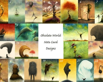 Set Of Obsolete World Fine Art Note Cards