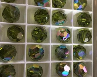 Swarovski 12mm Art 5000 vintage Swarovski beads in Olivine AB! Free postage worldwide Full box of 72