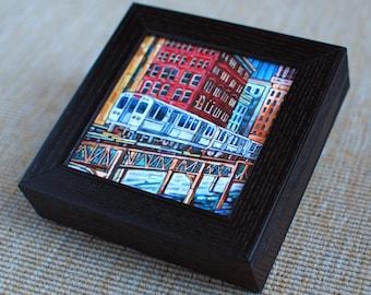 The El Train, Chicago El, downtown Chicago, Chicago train, Wabash Street, Chicago Loop, 5x5 Box Frame Art Print on Canvas