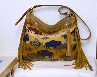 Buffalo Bag Beige Tan Leather Fringed Shoulder Bag American Bison Oregon Woolen Mill Fabric Bag Laced Riveted Leather Bag OOAK