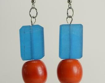 RR#43 - Vivid Blue Resin Earrings