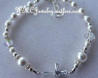 Sterling Silver Cross Baptism Pearl Bracelet, Cross Bracelet, Confirmation, First Communion Bracelet,Flower Girl Bracelet, Junior Bridesmaid
