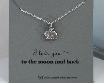 I Love You To The Moon And Back,Necklace,Bunny Necklace,Rabbit Necklace,Moon Neckalce,Minimalist Necklace,Butterfly,Sterling Necklae,Silver