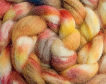 Hand Dyed BFL/Tussah Combed Top in Burnt Orange, 4oz