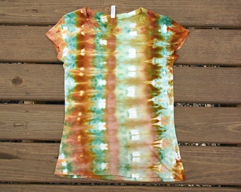 Green and Brown Tie Dye Shirt-Ladies Women Cotton Tshirt-Size Small S Juniors size 2 - 4