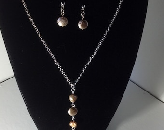Mercury and Pearl Necklace and Earring Set