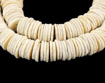 Ostrich Egg Shell Heishi Trade Beads Africa  25 Inch 120428