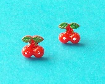 Bold Red Cherry Pierced Post Stud Earrings