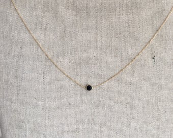 Real 14kt Gold Dainty but Solid Chain with Black Onix Good Layering almost Everything Minimalist Necklace