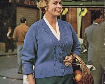 Ladies raglan detail cardigan - 40 to 44 inch bust - larger sizes - knitting pattern - pdf instant download
