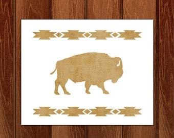 Buffalo silhouette printable nursery art, Instant Download
