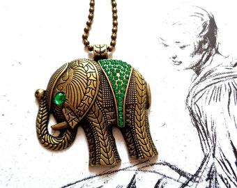 Bronze tone pendant necklace big elephant rhinestones emerald green ball chain
