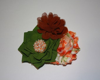 Vintage Fall Inspired Rose Gold, Pearl & Crystal Rhinestone Boutique Flower Headband (16 inches Normally Fits 6M-2T)