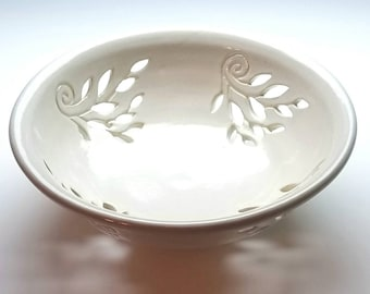 NEW, White, Carved, Fruit Bowl, (FREE POTTERY Gift with order) One-of-a-kind, Vine Pattern