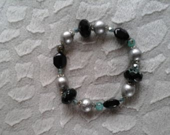 Black, green and silver glass and Crystal beaded bracelet