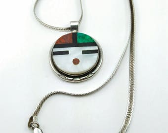 Vintage Zuni Native Sterling Pendant Necklace- 136V