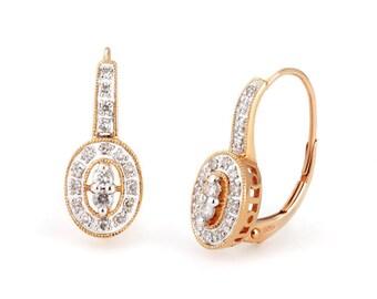 14k rose & white gold diamond lever back earrings