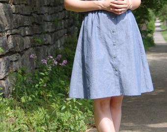 Chambray Button Up Dress, Casual Button Up Dress, Cotton Summer Dress, Casual Dress, Chambray Dress, Knee Length Dress, Blue Grey Dress,
