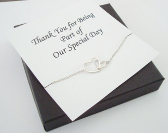 Interlocked Floating Hearts Silver Bracelet ~~Personalized Jewelry Gift Card for Bridal Party, Friend, Sister, Mother, Mother of Groom