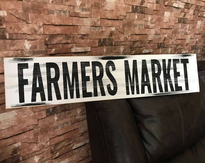 Farmers Market Farmhouse Rustic Country Fixer Upper Style Farm House Wood Sign