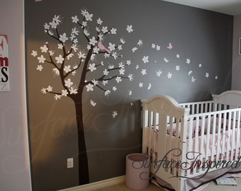 Wall Decal Nursery Tree - Contemporary Cherry Blossom Tree Wall Decal with Birds and Butterflies. Tree Wall Decals.